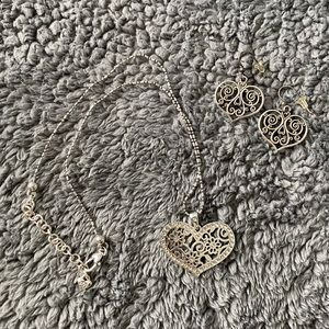 Brighton heart necklace and dangle earring set